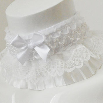 Victorian choker - First Snow - bridal wedding white cute kawaii harajuku alternative lolita pleated lace collar with bow and pearls