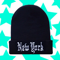 New York Old English Beanie / Black and Gold Womens Knit Woven Unisex Skull Cap Skully Hat / Mens Womens Winter Fashion