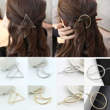 Fashion Women Girls Gold/Silver Plated Metal Triangle Circle Moon Hair Clips