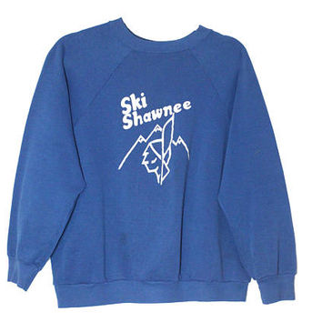 Vintage 1980s Ski Shawnee Mountain Retro Crewneck Sweatshirt | Adult Size Small/Medium | 80s Graphic Design, Worn In