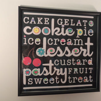 Adorable Kitchen Wall Decor with a dessert theme. Embellished w/pop-up accents and gems