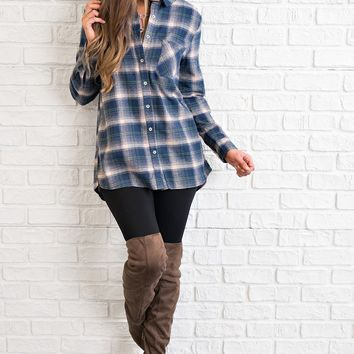 Not Your Boyfriend's Flannel (Navy)