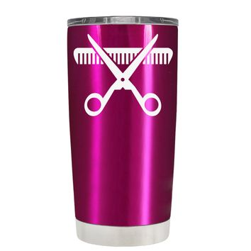HairStylist Scissor and Comb Silhouette on Translucent Pink 20 oz Tumbler Cup