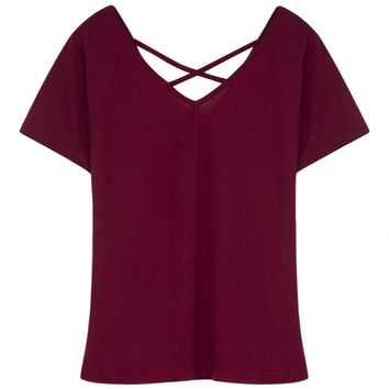 Burgundy V-neck Cross Strap Short Sleeve T-shirt