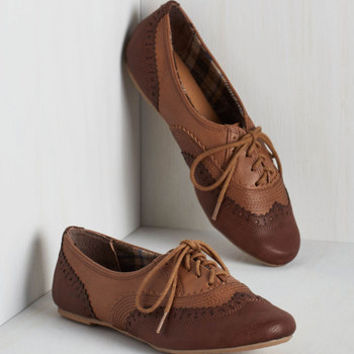 Menswear Inspired, Scholastic Class Forward Flat in Chestnut
