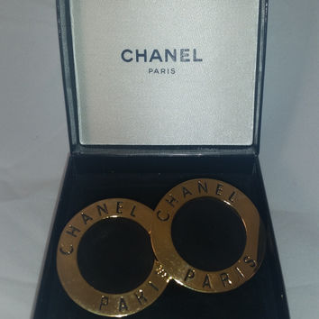 Chanel Gold + Black Suede Clip On Earrings