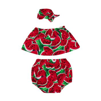 Baby Girl Watermelon Off Shoulder 3pc. Outfit