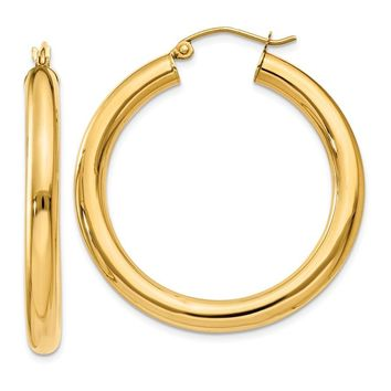 14k Gold 35 mm Polished Tube Hoop Earrings