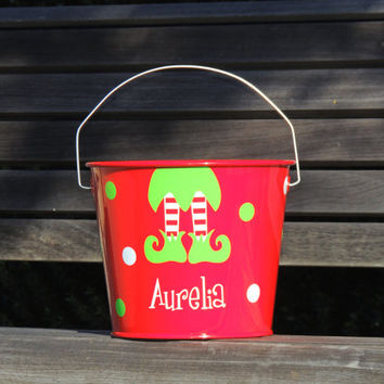 holiday bucket, kids christmas bucket, candy bucket, gift bucket, christmas party favor, elf pail, holiday gift, toy bucket, kids pail