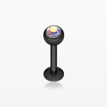 Blackline PVD Gem Ball Steel Labret