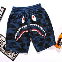 BAPE AAPE Classic Popular Unisex Casual Shark Mouth Print Blue Camouflage Sport Shorts Pants I/A