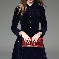 Stand Collar Winter Dress