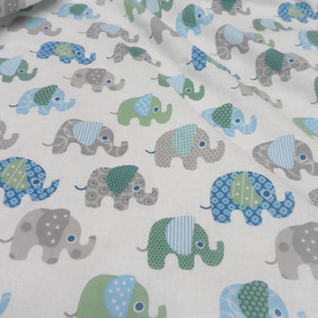 Cotton fabric 59 x 120 in Organic Fabric Elephants print Perfect for baby bedding. Children Baby fabric
