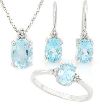 Sterling Silver Sky Blue Topaz Oval and Diamond Ring, Earrings and Necklace Set