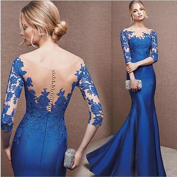 Free shipping Evening dress 2017 new word shoulder fish tail long engagement wedding banquet Slim female host evening dress
