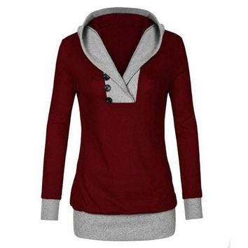 Spring Winter Womens Blouse Sexy V-Neck Long Sleeve Hoodie