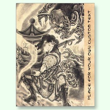 Cool classic vintage japanese demon ink tattoo postcards from Zazzle.com