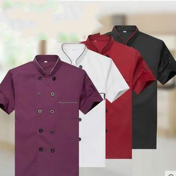 Summer Hotel Chef Jacket Food Service Short Sleeved Restauant Chef Uniform Double Breasted Chef Clothing  Kitchen Cook Wear 89