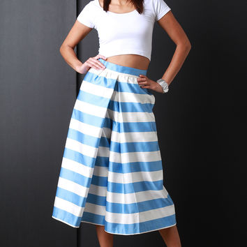Horizontal Stripe Wide Leg Culotte Pants
