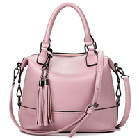 Bolsa Feminina Pink Bucket  Bag Tassel Leather Bags Handbags Women Famous Brands Tote Bags