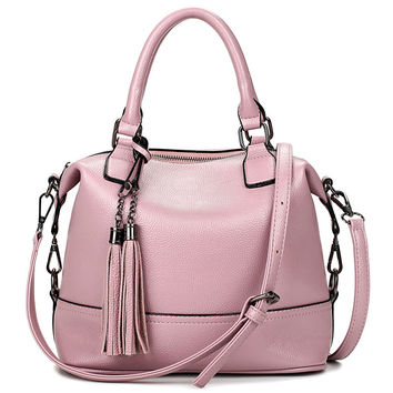 Feminina Pink Bucket  Bag Tassel Leather