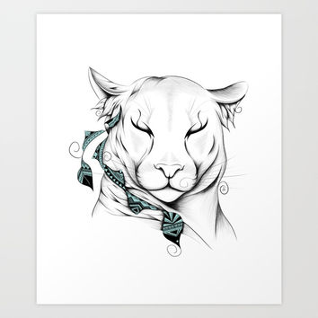 Poetic Cougar Art Print by loujah