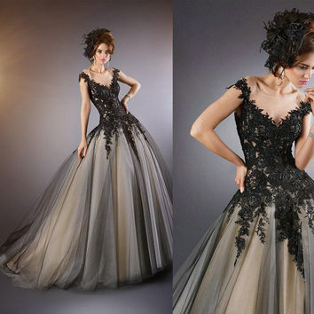 Hot Sale Ball Gown Back Lace Appliques Prom Dress Long Abendkleider 2015 Evening Dress Robe Soiree Custom Made