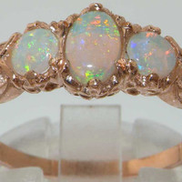 Solid 9K Rose Gold Natural Fiery Opal English Victorian Style 3 Stone Trilogy Ring -Made in England- Customise: 14K, 18K Yellow, Rose, White
