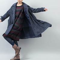 Blue Cashmere Coat, Bing Swing wool Coat, Winter Women Coat Jacket - loose style