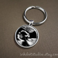 Custom Sonogram Keepsake Key Ring From Your Sonogram! Ultrasound Keychain, Mother's Day, Gift for Grandmother