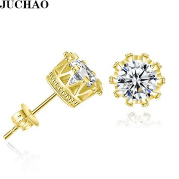 JUCHAO Hot Sale Gold Silver Earring Women Men Jewelry Zircon Crystal Inlayed Crown Double Stud Earrings 2018