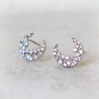 CZ Crescent Moon Earrings / choose your color / gold and silver