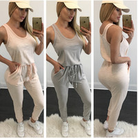 2016 Runway Plus Size Jumpsuits and Rompers for Women Casual Ladies Clothing UK Vestidos Long Sleeveless Cotton U-neck Grey