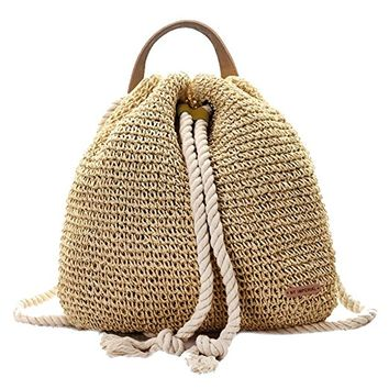 Nude Crochet Straw Backpack Bag with Drawstring Rope Strap