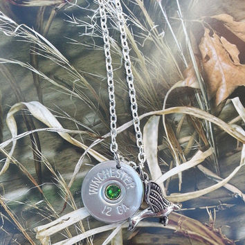 Nickel Shotgun Shell Flying Duck Necklace for the Country Firearm Waterfowl Hunting Gun Girl