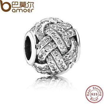 925 Sterling Silver LOVE KNOT SILVER CHARM WITH CUBIC ZIRCONIA Beads Fit Bracelet Accessories PAS206