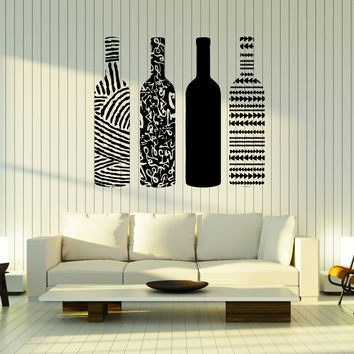 Wall Vinyl Decal Wine Bottle Painted Ornament Drinks Home Interior Decor Unique Gift z4771