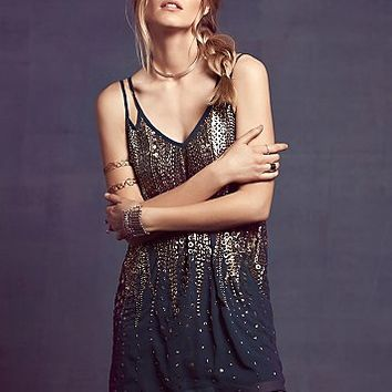 Free People Womens Embellished V Shift Dress