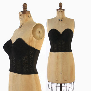 Vintage 60s Strapless BRA / 1960s Pin-Up BLACK LACE Bustier Top 34 C