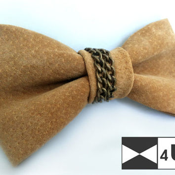 Leather Bow Tie Bowtie Ivory Beige Real Suede Necktie Fancy Special Wedding Bow Tie Groomsmen Bow Tie Man Men Lady Dickie Bow Gift Unique