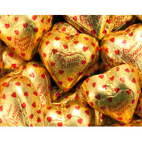 Gold Foiled Peanut Butter Filled Milk Chocolate Hearts: 4LB Bag