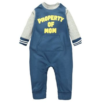 winter baby long-sleeved leotard climbing clothes out clothes cotton baby boy Blue cotton sweater Baseball Romper