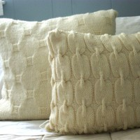 Knit Sweater Pillow, Cable Knit Wool Pillow Sham, Chain Link Pillow Sham