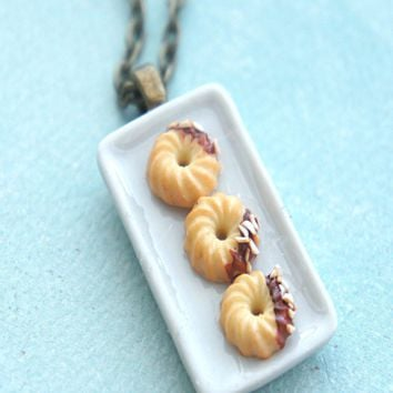 French Cruller Donuts Necklace