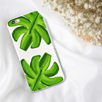 Watercolor Banana leaf iphone case