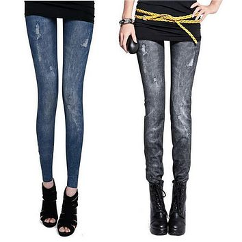 Womens Vintage Jeans Tights Pants Trouser Tight Stretch Skinny Leggings Jeggings