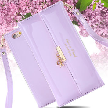 Fashion Mini Handbag Women Girl Lovers Leather Case Cover For Apple iPhone 6 4.7inch Wallet With Strap Card Hold