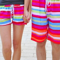 Brightly Stripes Beach Shorts for Couple from SarahHunt