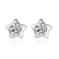 CoolGo Women Star 925 Sterling Silver Stud Earrings with Cubic Zirconia CZ Diamond Post Closure 4mm