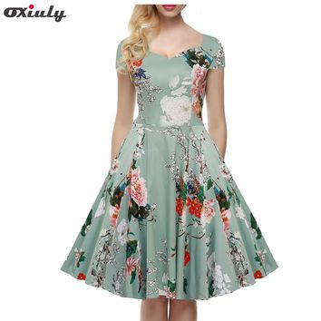 Oxiuly Plus Size 4XL 5XL Women 50s 60s Audrey Hepburn Vintage Rockabilly Floral Swing V-Neck A-Line Prom Ball Gown Party Dress